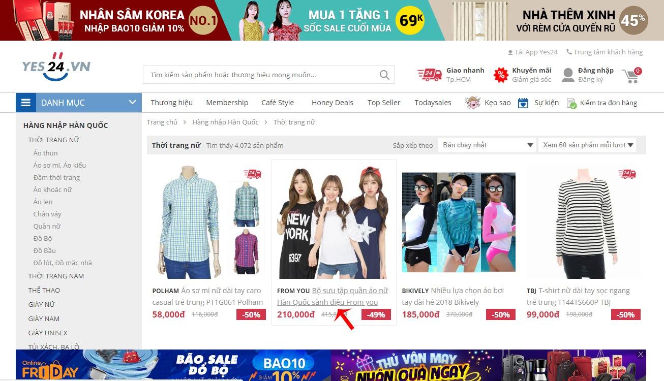 Chọn sản phẩm muốn mua trên Yes24.vn