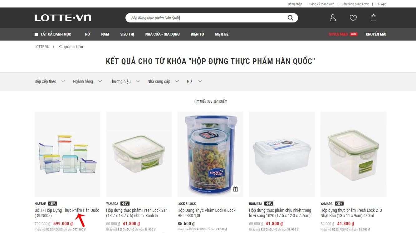 Chọn sản phẩm muốn mua trên Lotte.vn