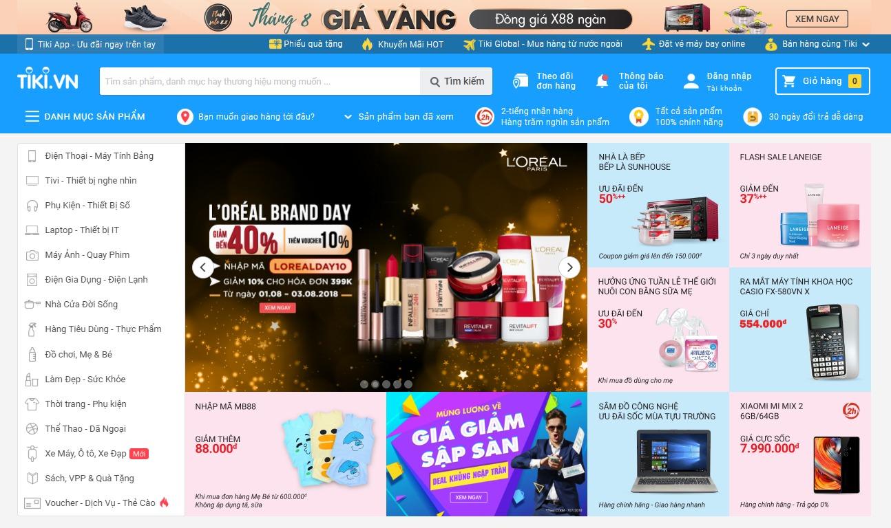Giao diện bán hàng của Tiki.vn
