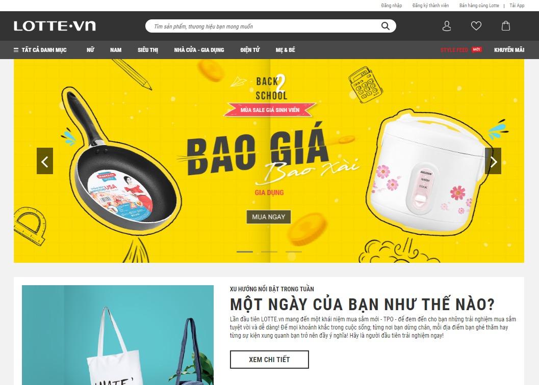 Giao diện bán hàng của Lotte.vn