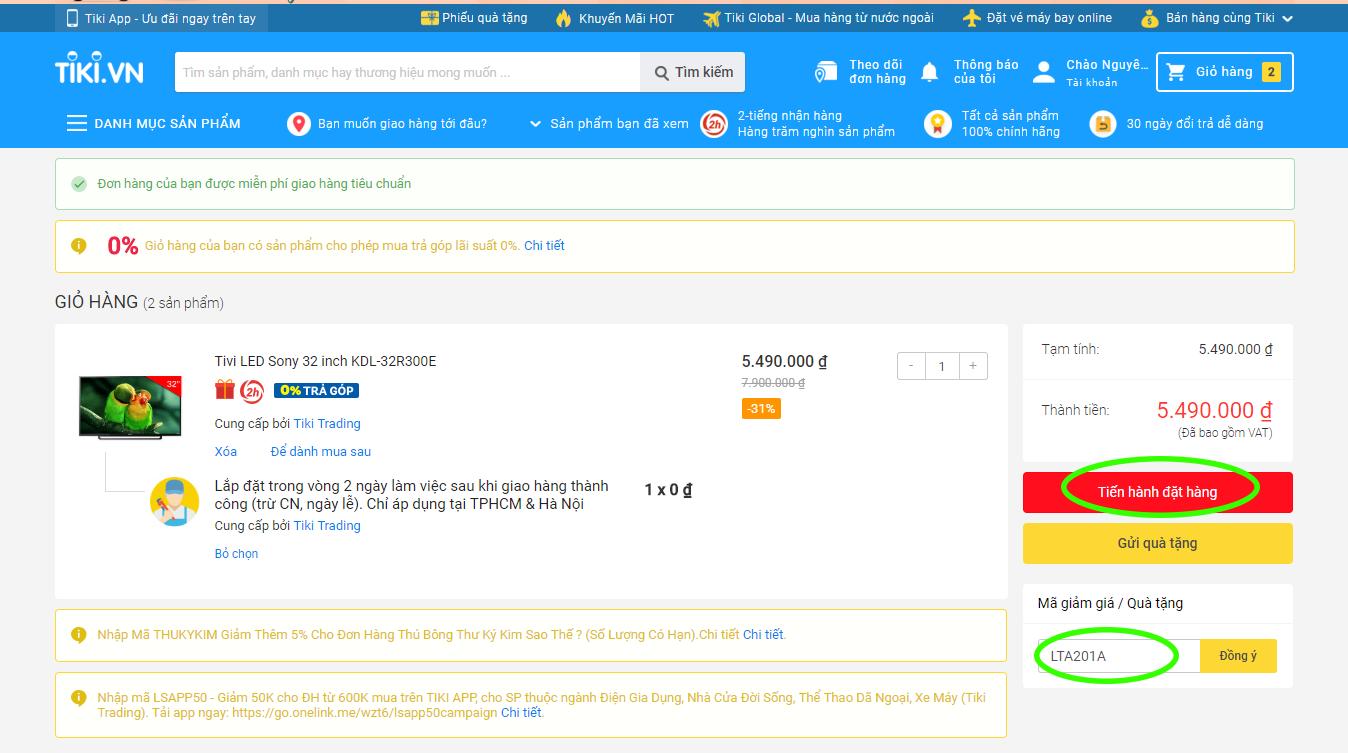 Nhấn vào nút tiến hành đặt hàng trên Tiki.vn
