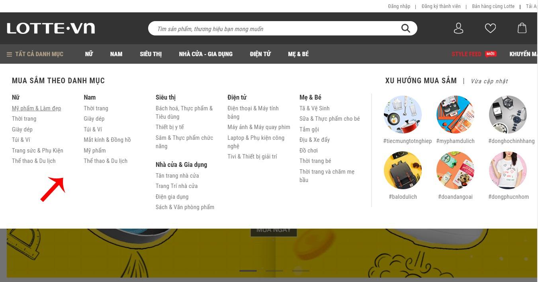 Tìm sản phẩm theo Danh mục sản phẩm trên Lotte.vn