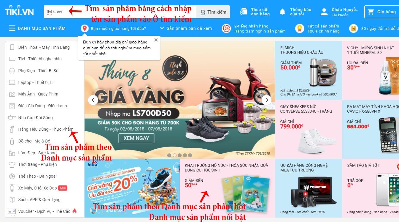 Hướng dẫn mua hàng trên Tiki - Tìm kiếm sản phẩm trên Tiki