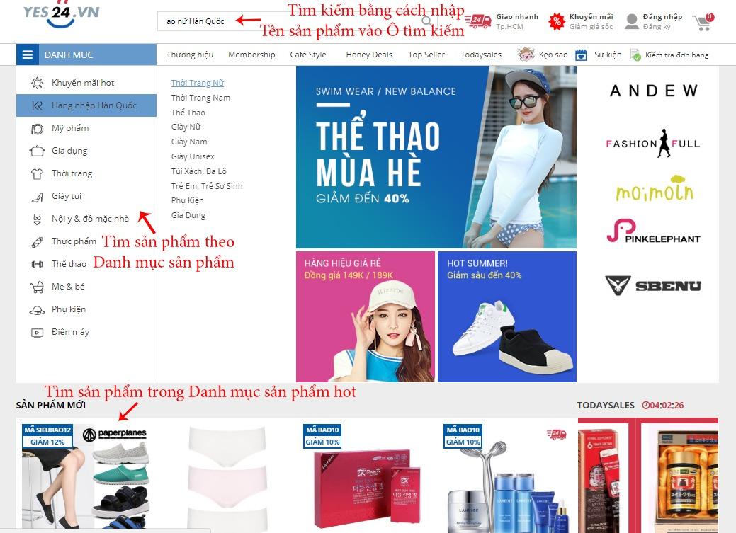 Tìm kiếm sản phẩm trên Yes24.vn