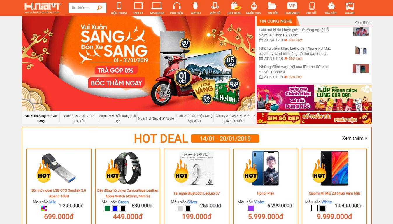Trang bán hàng của Hnammobile