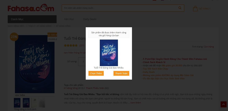 Bước 3 click chọn thêm hoặc thanh toán trên Fahasa