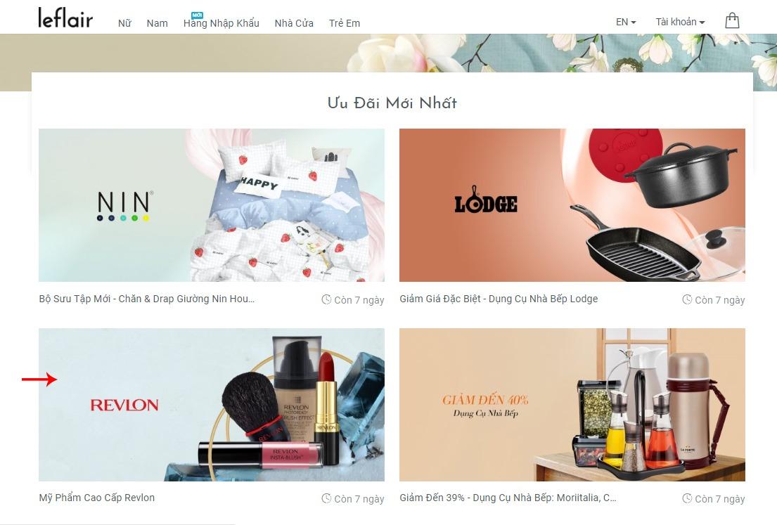 Chọn danh mục chứa sản phẩm muốn mua trên Leflair