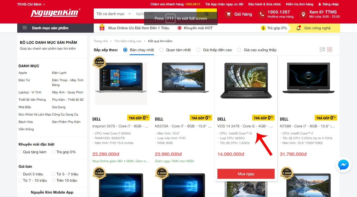 Chọn sản phẩm muốn mua trên nguyenkim.com