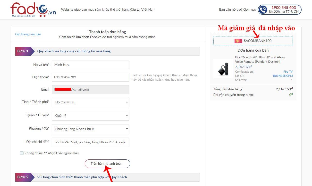 Click nút tiến hành thanh toán trên Fado.vn