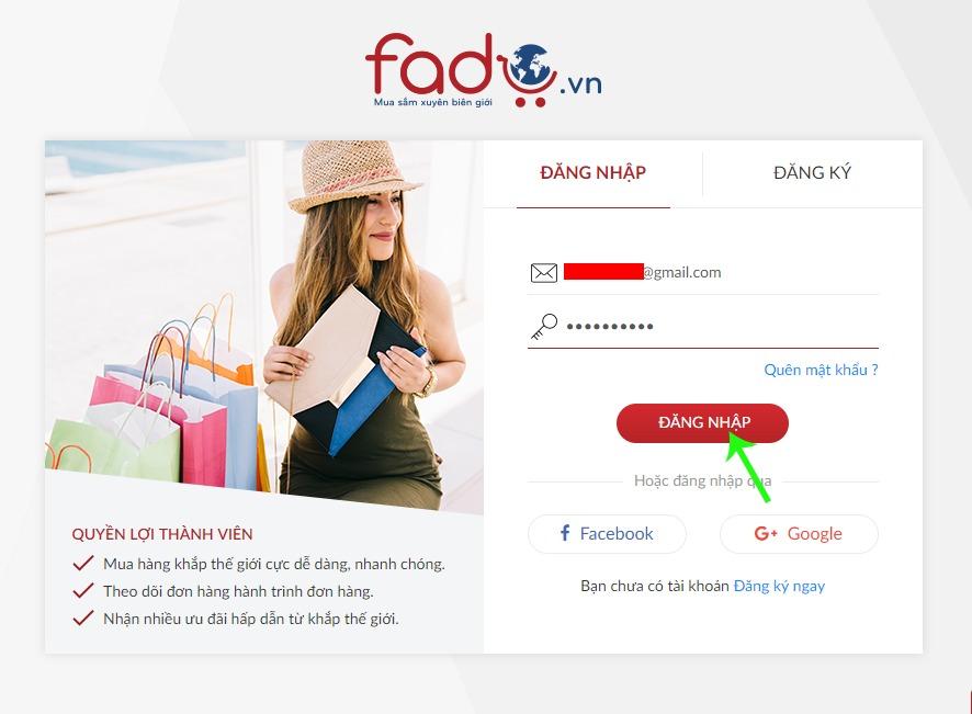 Đăng nhập tài khoản Fado