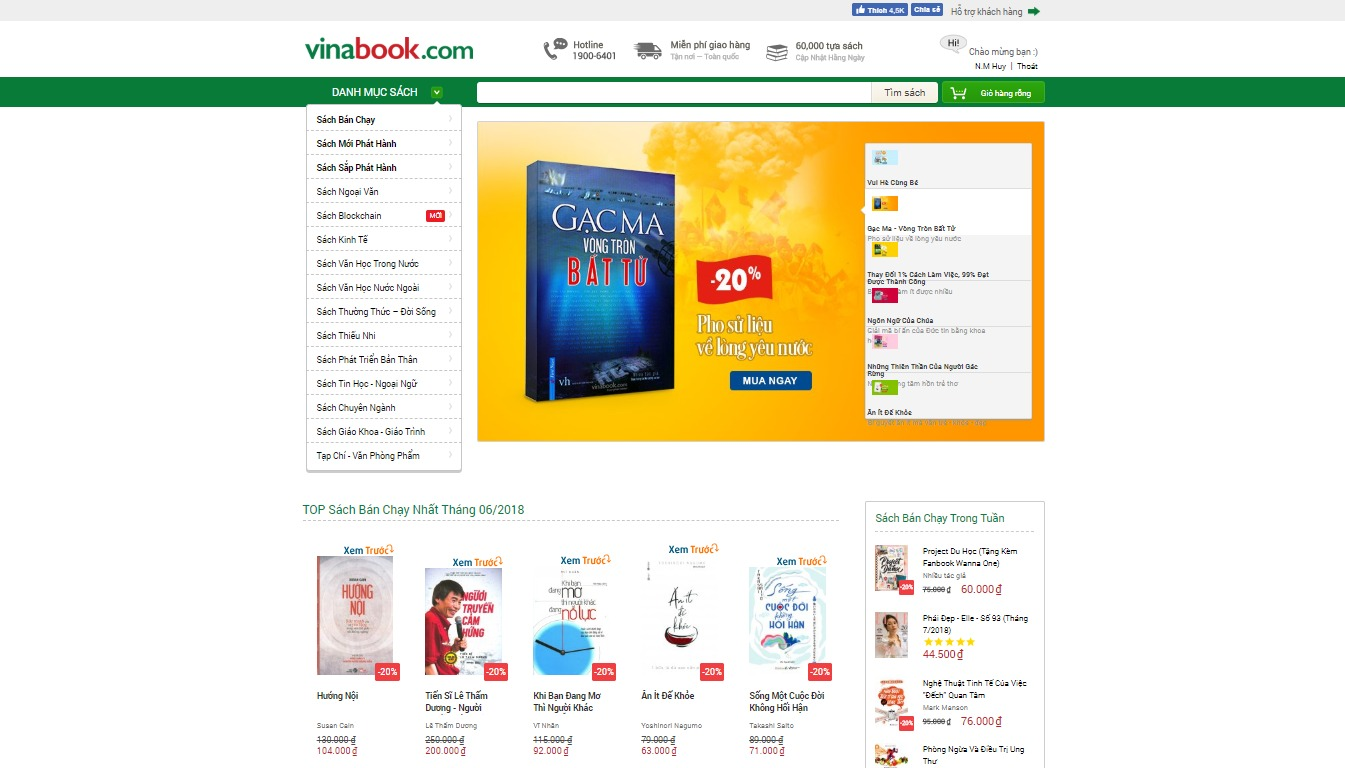 Đăng nhập tài khoản Vinabook