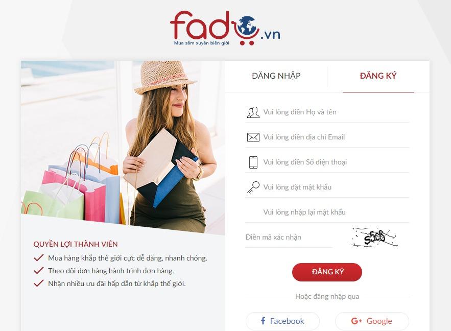 Điền thông tin đăng ký tài khoản Fado.vn 1