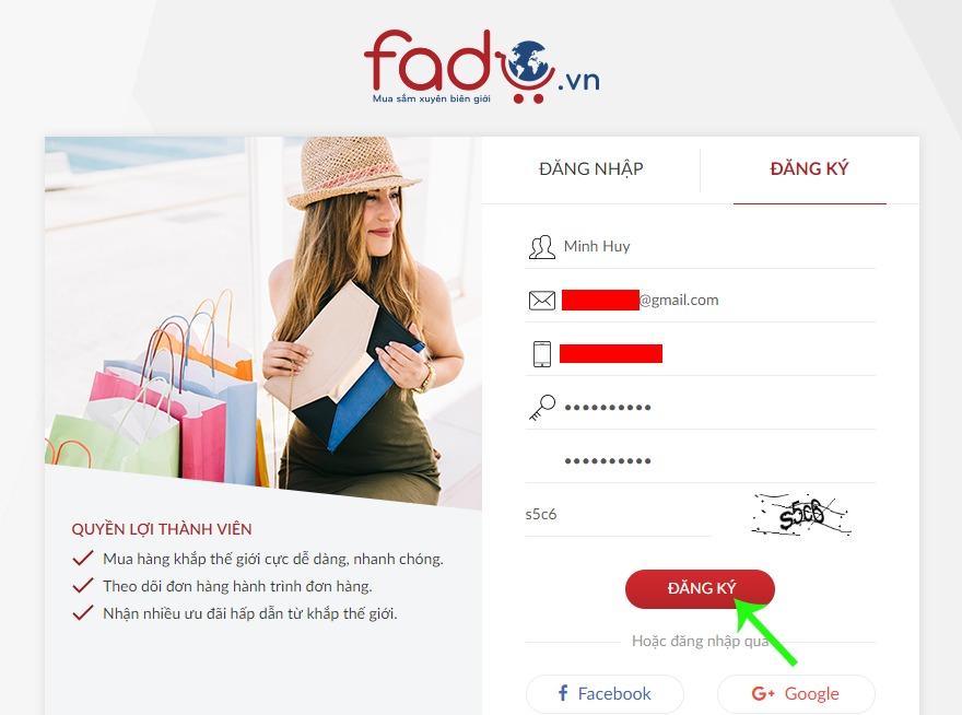 Điền thông tin đăng ký tài khoản Fado.vn