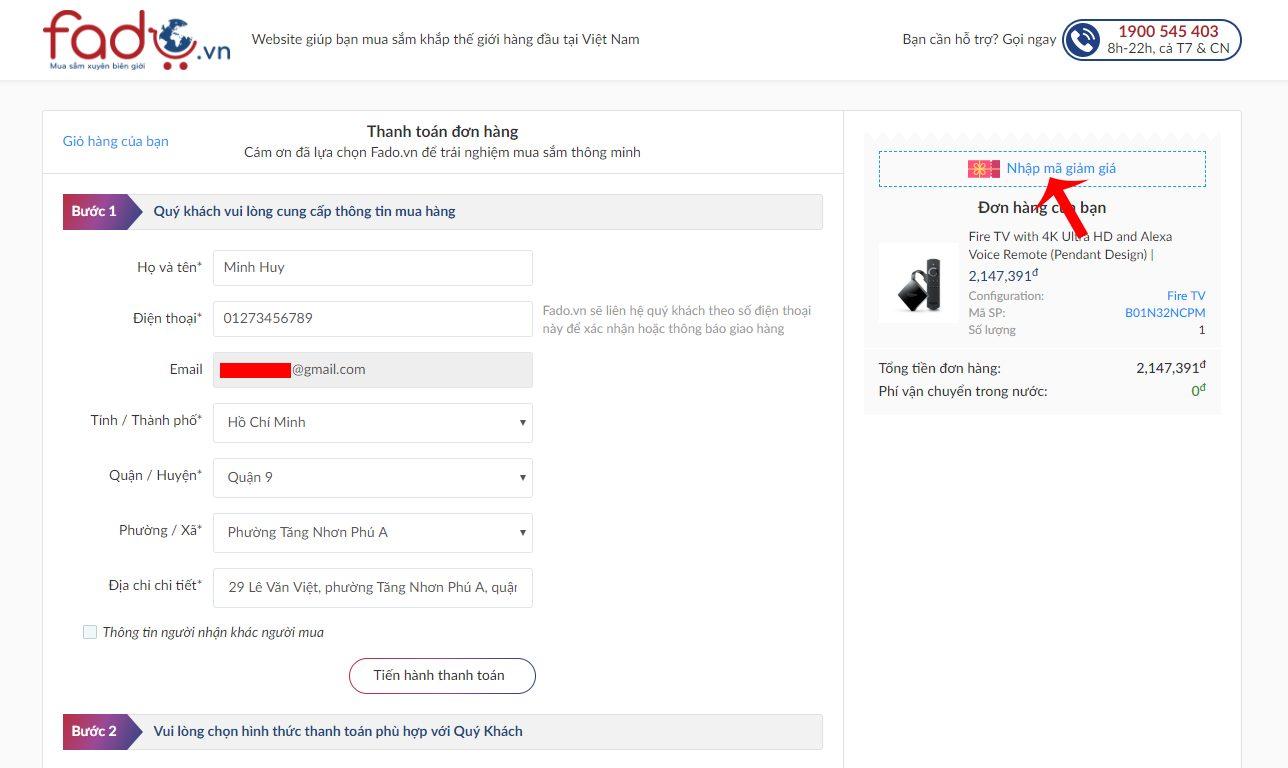 Điền thông tin đặt hàng và nhấn nút mã giảm giá Fado