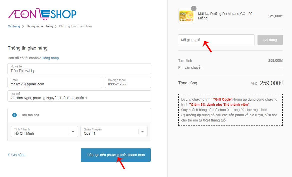 Điền thông tin giao hàng và nhập mã giảm giá trên Aeoneshop