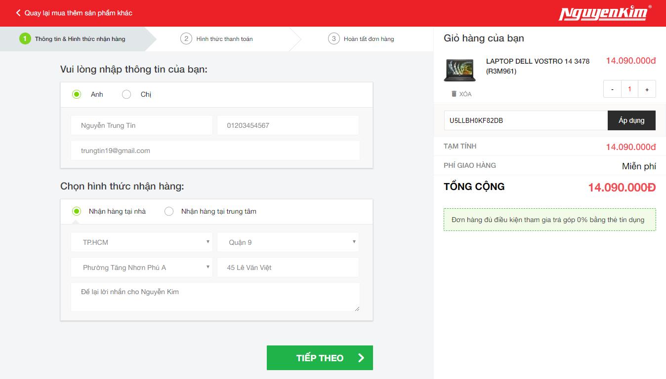 Điền thông tin nhận hàng và nhập mã giảm giá Nguyễn Kim