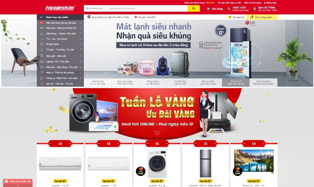 Giao diện bán hàng của Nguyễn Kim