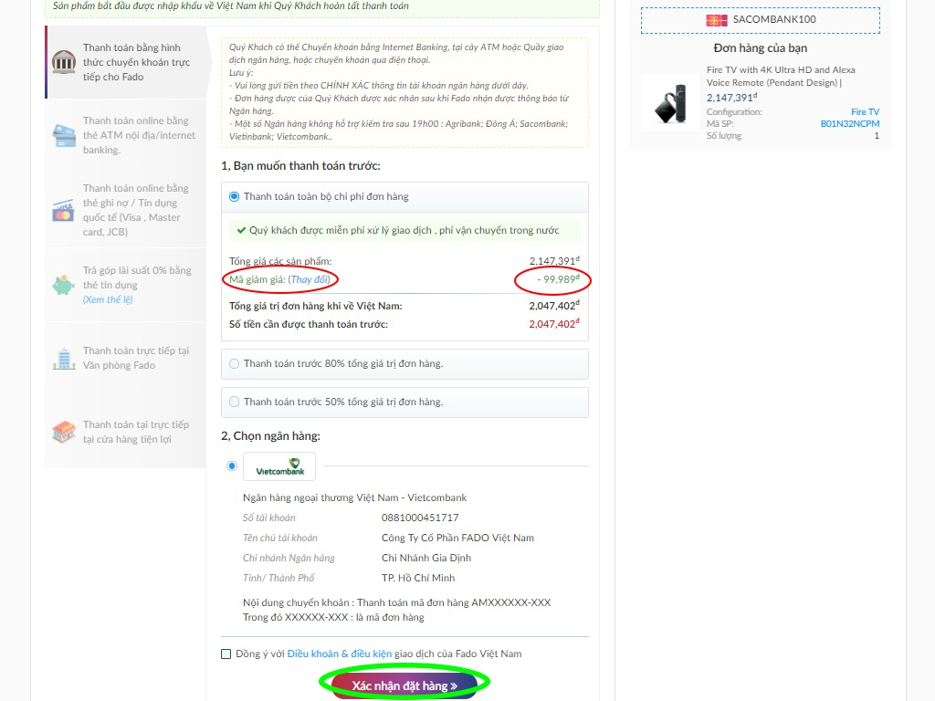 Hoàn tất quá trình đặt hàng Amazon trên Fado