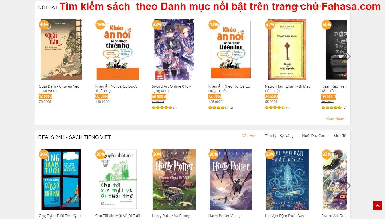 Hướng dẫn mua sách online Fahasa - tìm kiếm sách theo Danh mục nổi bật