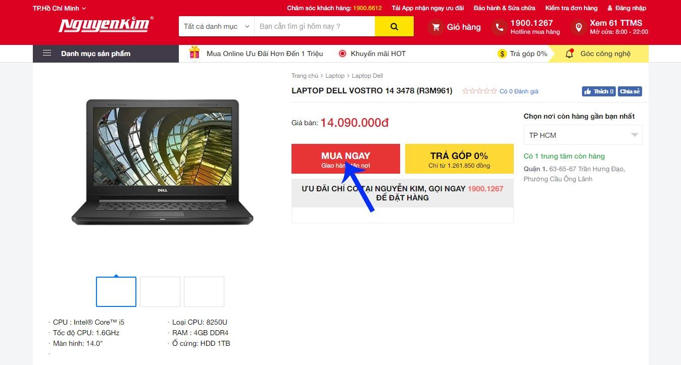 Kiểm tra thông tin sản phẩm và nhấn vào nút mua ngay trên Nguyễn Kim