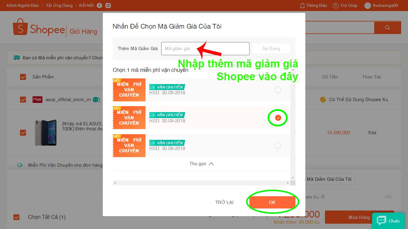 nhập mã giảm giá Shopee