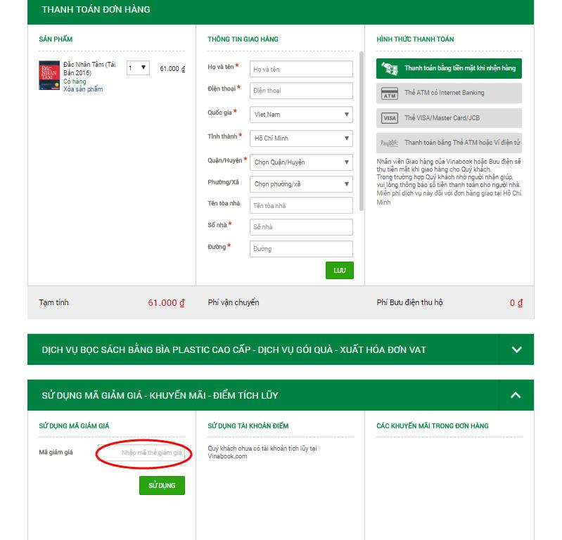 Nhập mã giảm giá Vinabook nếu có