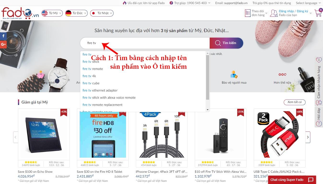 Tìm hàng Mỹ bằng cách nhập tên sản phẩm vào ô tìm kiếm trên Fado