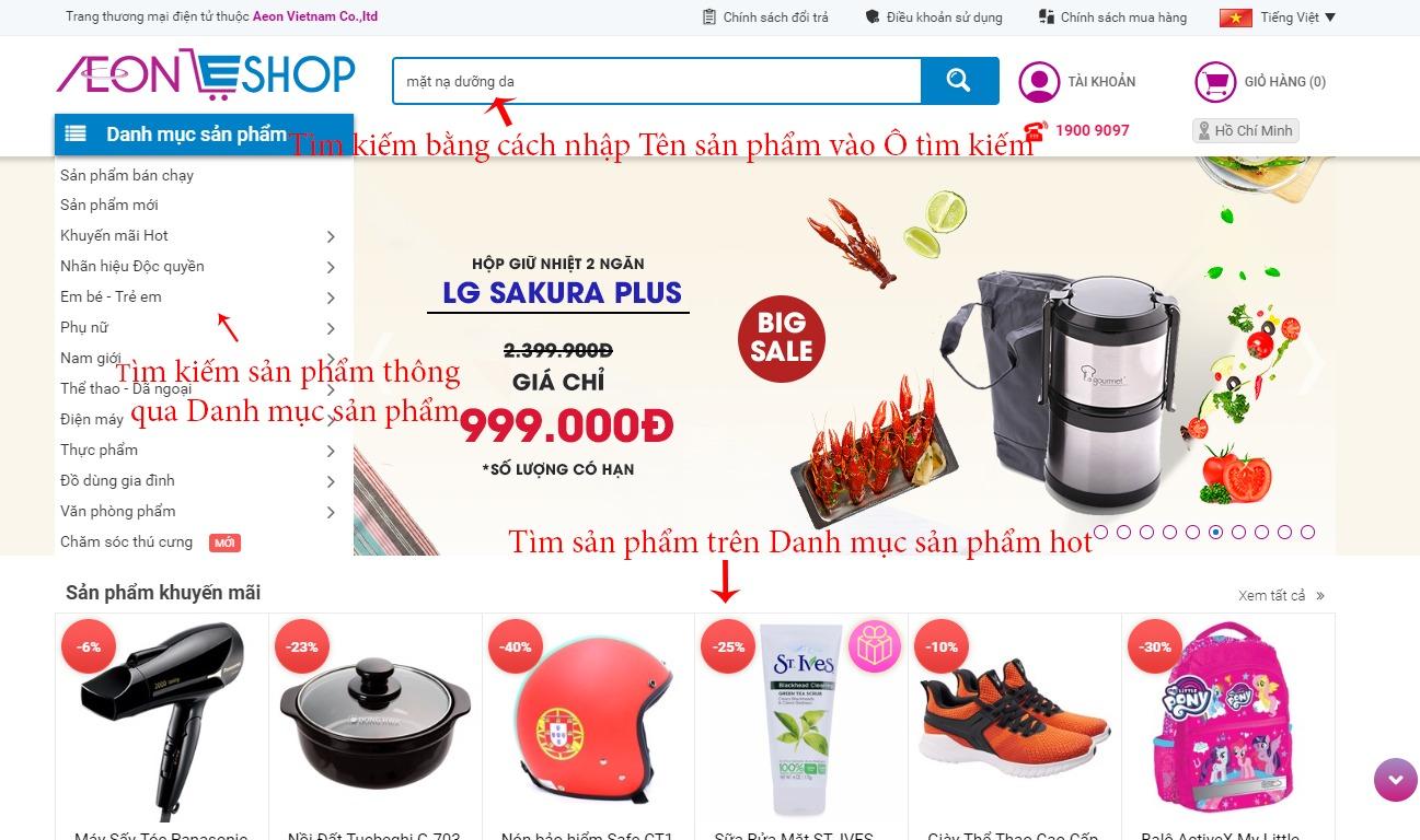 Tìm kiếm sản phẩm trên Aeoneshop