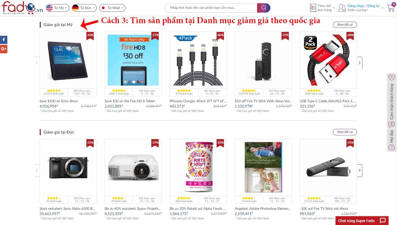 Tìm sản phẩm trên Danh mục giảm giá theo quốc gia