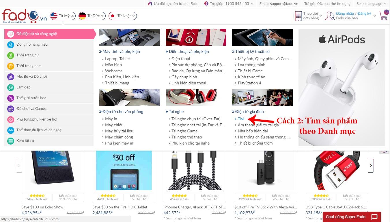 Tìm sản phẩm theo Danh mục trên trang chủ Fado
