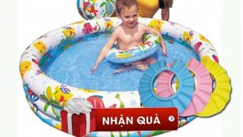 Khuyến mãi Shopee ƯU ĐÃI SỐC đến 44% cho Bể bơi phao intex 3 chi tiết tặng 1 mũ gội đầu cho bé