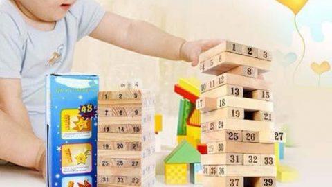 Khuyến mãi Shopee ƯU ĐÃI SỐC đến 50% cho Bộ đồ chơi rút gỗ Wiss Toy 54 thanh kèm 4 con súc sắc an toàn cho bé