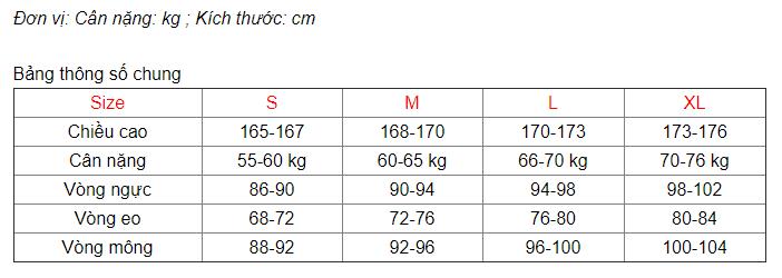 Bảng thông số size Nam thời trang Canifa