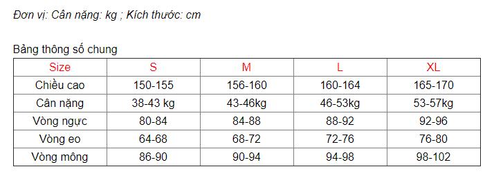 Bảng thông số size Nữ