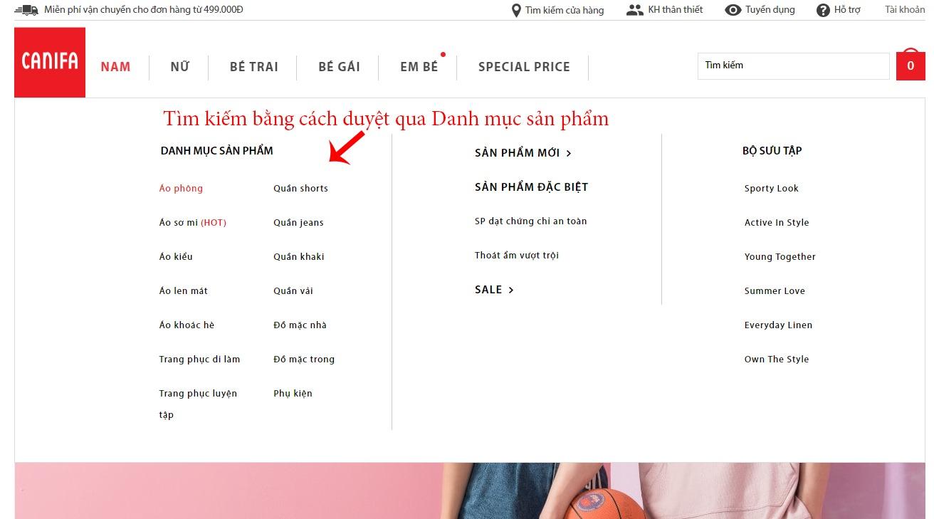Tìm kiếm sản phẩm bằng cách duyệt qua Danh mục sản phẩm trên Canifa