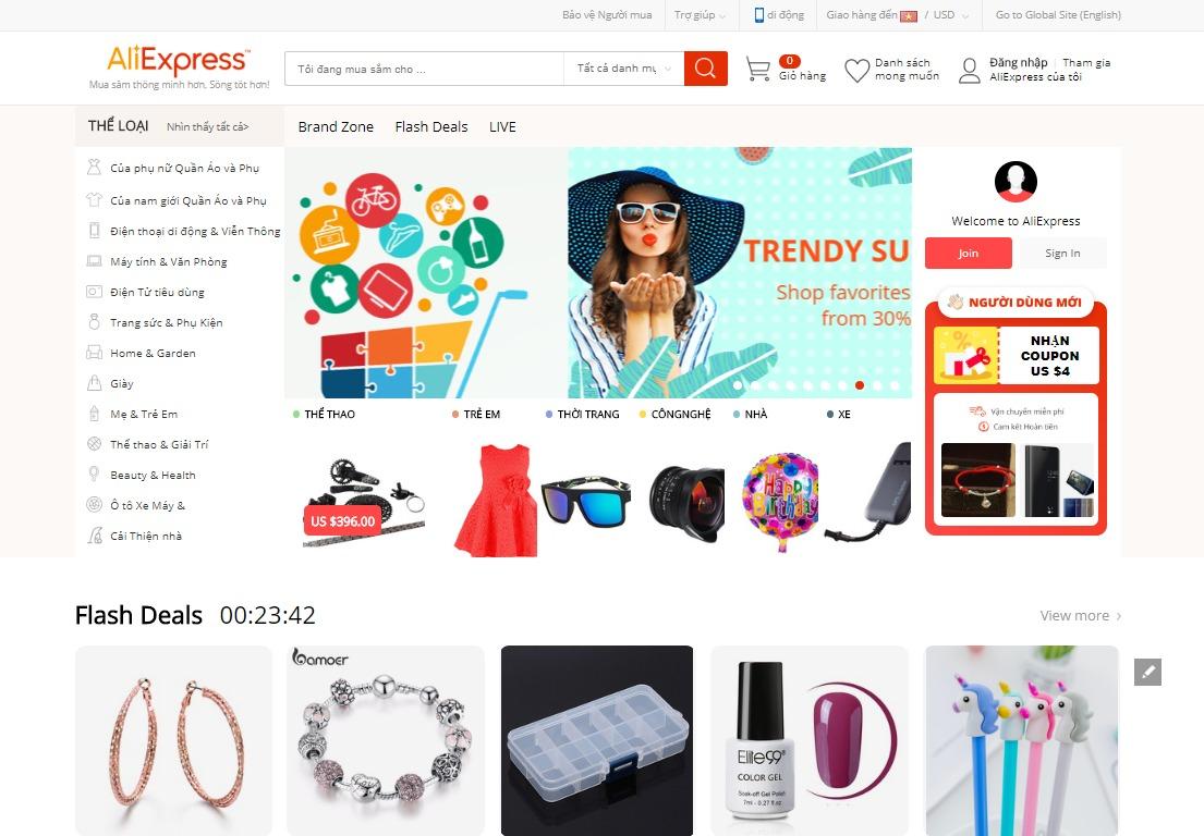 Giao diện bán hàng của Aliexpress với ngôn ngữ Tiếng Việt