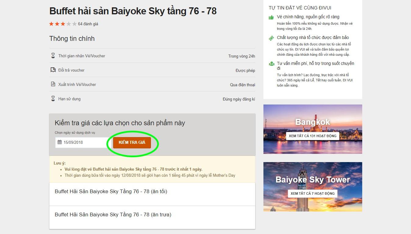 Chọn ngày sử dụng dịch vụ du lịch trên Divui