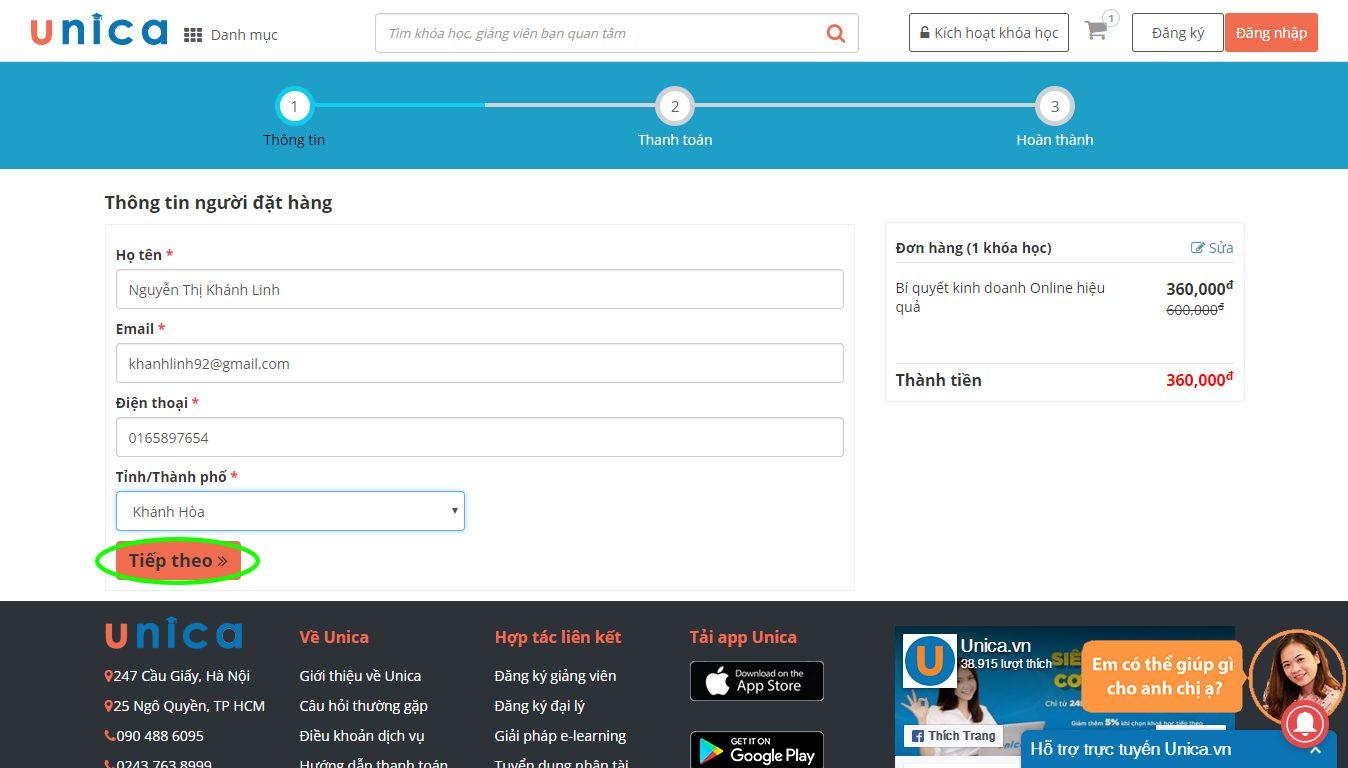Điền thông tin người đăng ký khoá học trên Unica