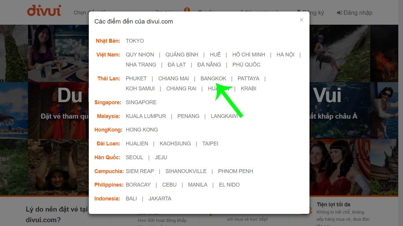 Tìm kiếm dịch vụ du lịch trên Divui theo điểm đến 2