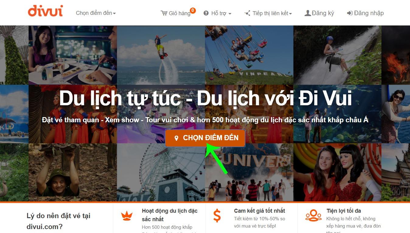 Tìm kiếm dịch vụ du lịch trên Divui theo điểm đến
