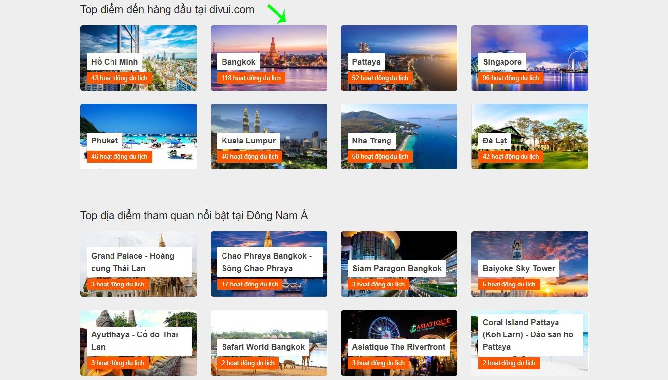 Tìm kiếm hoạt động du lịch trên Divui dựa trên danh mục Top các điểm đến hàng đầu