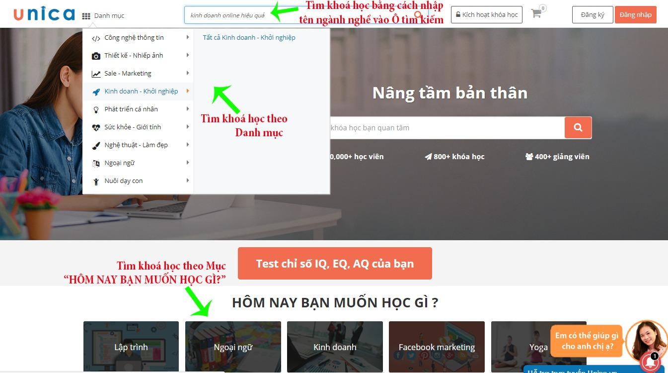 Tìm kiếm khoá học online trên Unica