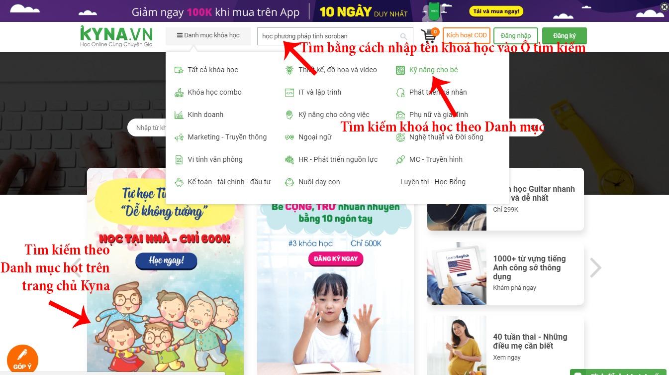 Tìm kiếm khoá học trên Kyna.vn