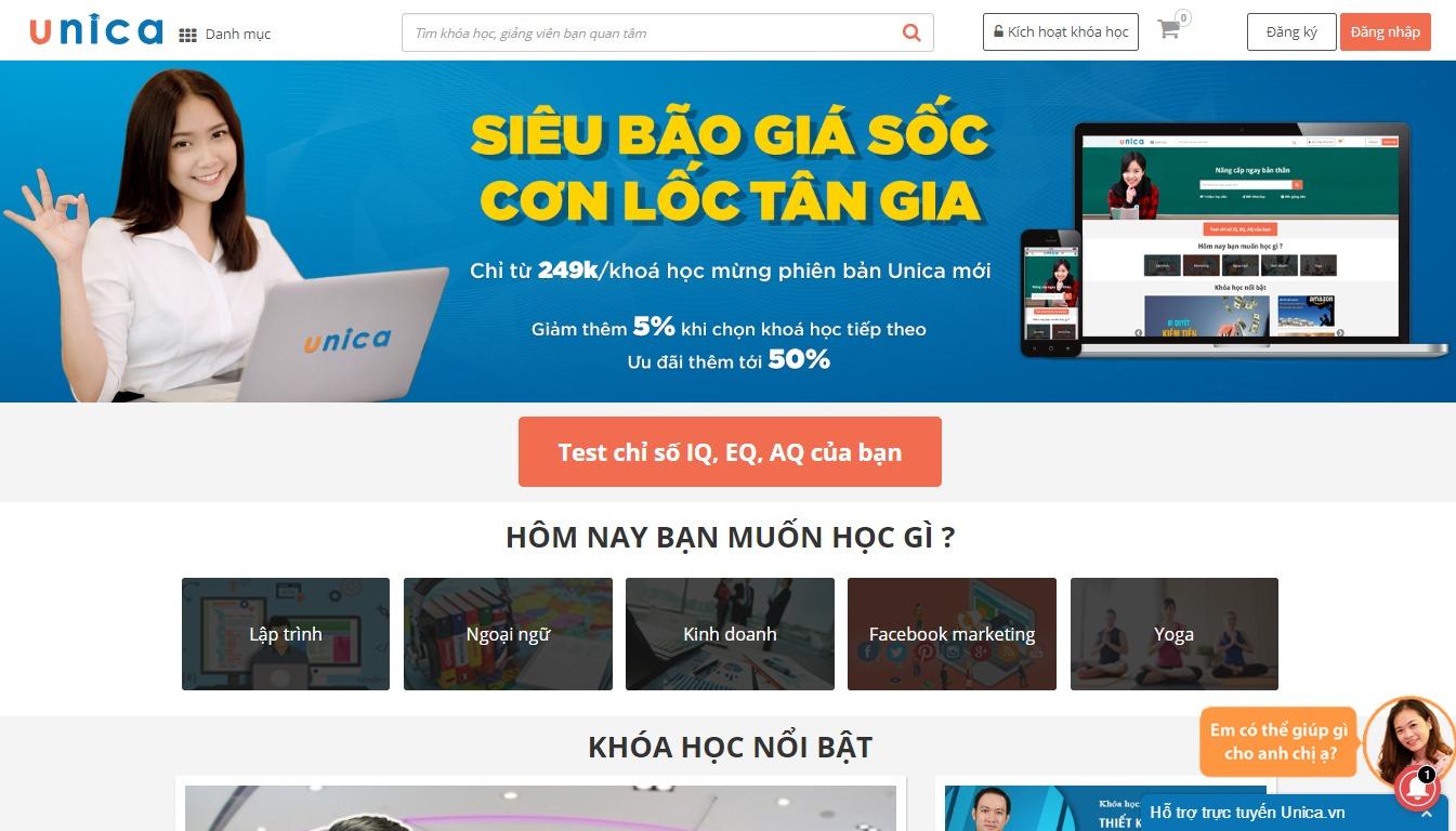 Trang chủ của Unica