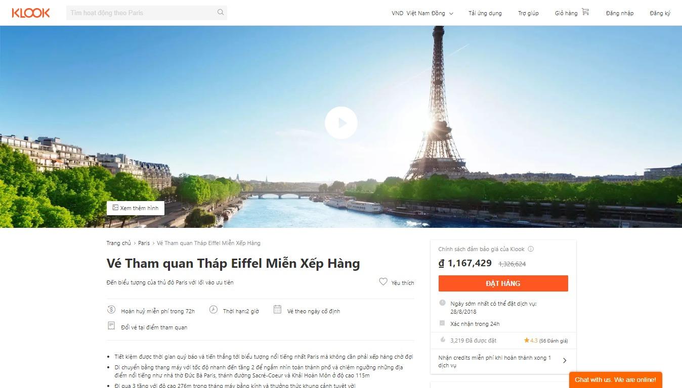 Vé tham quan tháp Eiffel miễn xếp hàng