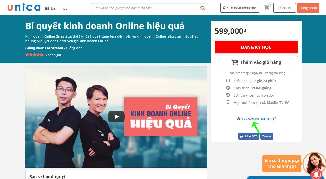 Xem thông tin chi tiết khoá học online trên Unica