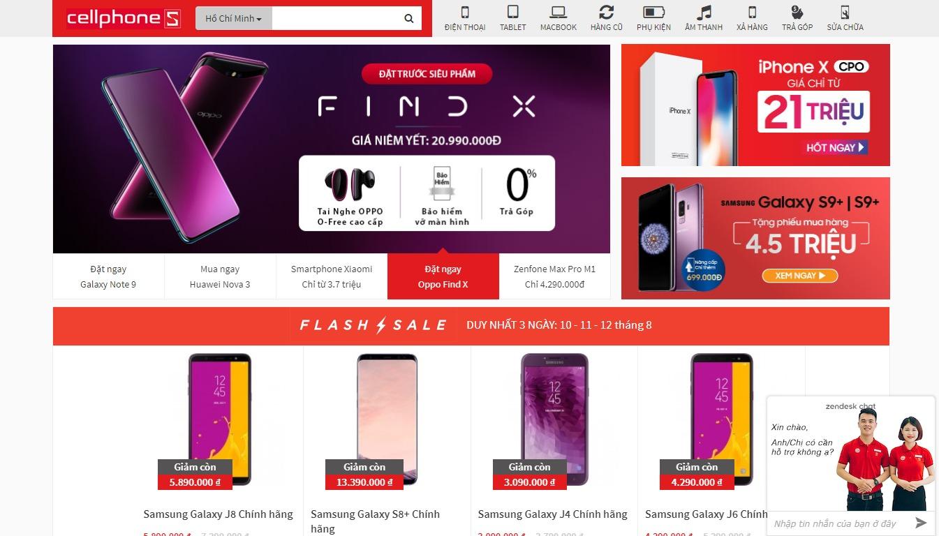 Trang bán hàng của CellphoneS