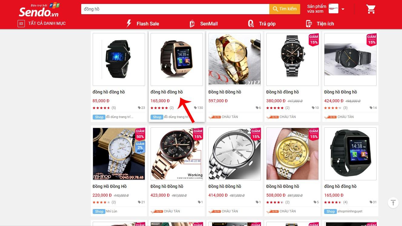 Hướng dẫn mua hàng trên Sendo - chọn món hàng muốn mua trên Sendo