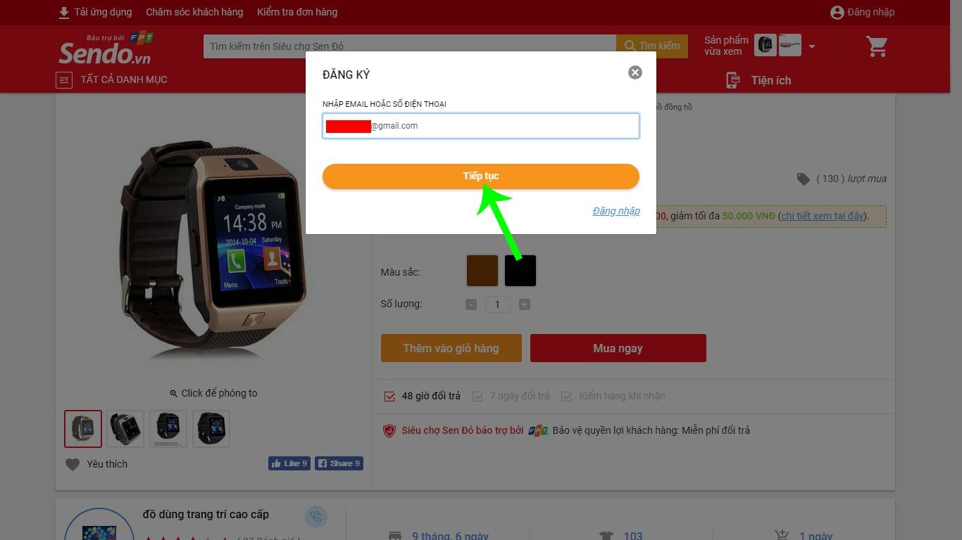 Đăng ký tài khoản Sendo nhập Email hoặc số điện thoại
