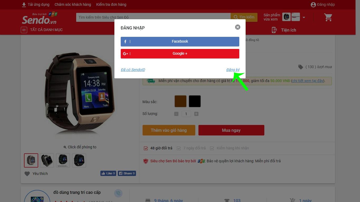 Hướng dẫn mua hàng trên Sendo - đăng ký tài khoản